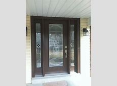 Pro Via Entry Door with Sidelights, Tudor Brown Finish
