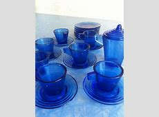 Akro Agate Colbalt Blue Childs Dish Set   Cobalt blue