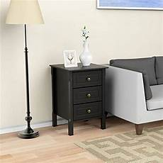yaheetech 3 drawers nightstand end table storage wood