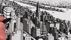 City Building Sketches How To Draw City Buildings New York City Shadows Youtube