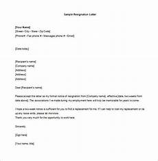 Examples Of Resignation Letters 2 Weeks Notice 10 Sample Two Week Notice Resignation Letter Templates