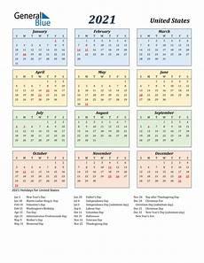 Us Calendars 2021 Calendar United States With Holidays