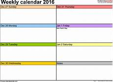 Calendar Planner Templates Weekly Calendars 2016 For Excel 12 Free Printable Templates
