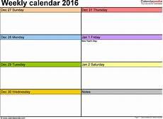 Week Calander Weekly Calendars 2016 For Pdf 12 Free Printable Templates