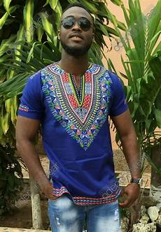 Dashiki Tops Designs Odeneho Wear Men S Blue Polished Cotton Top Dashiki