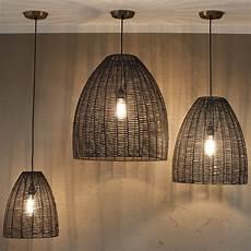 Black Rattan Ceiling Light Buy Nkuku Noko Conical Wicker Pendant Light Black Amara