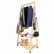 bamboo clothes rack zimtown bamboo garment rack w 4 coat hooks 2 tier shoe