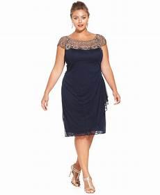Xscape Plus Size Dresses Size Chart Xscape Plus Size Cap Sleeve Beaded Dress In Blue Lyst