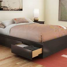 functional wood platform bed 3 drawers underbed storage