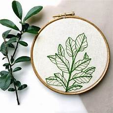 botanical plant embroidery hoop by tuskandtwine on