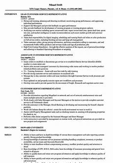 Resume Templates For Customer Service Representatives Customer Service Representative Clothing Resume