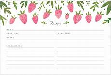 Recipes Cards Printable Strawberry Recipe Cards Freutcake