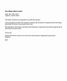 Example Of A Notice Letter 2 Week Notice Letter Template 2 Week Notice Letter