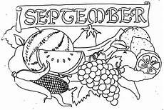 september mit obst ausmalbild malvorlage monatsbilder