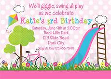 Birthday Invitations Girls Printable Birthday Invitations Girls Park Party