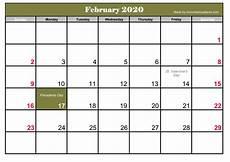 Free Calendar Template February 2020 Printable Frebruary 2020 Calendar With Holidays Calendar