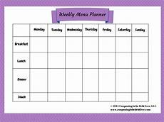 Weekly Menu Planning Template Weekly Menu Planner Printable