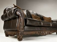 shore all leather brown traditional sofa set