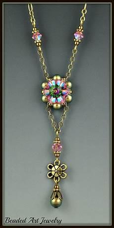 beaded bead woven beadwork swarovski flower