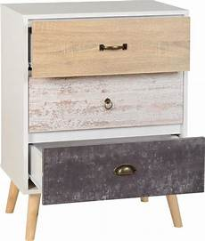 nordic 3 drawer chest in white distressed effect the