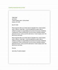 Examples Of Resignation Letters 2 Weeks Notice Free 5 Sample Resignation Letter With 2 Week Notice