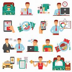 Daily Job Activities Man Daily Routine Icon Set Download Free Vectors