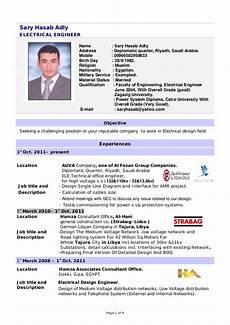 Professional Cv Format For Engineers Design Electrical Engineer Cv