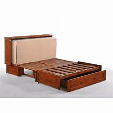 the clover cabinet bed in rich cherry is an easy fold out bed