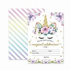 magical unicorn birthday invitations outego glitter