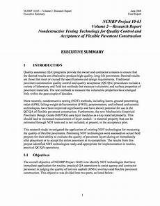 Executive Summary Report Executive Summary Supporting Materials For Nchrp Report