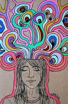 Trippy Drawings Psychedelic Dreaming Thinking Girl Art Print Surreal