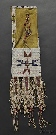 beadwork sioux lakota beaded hide pipebag c last quarter 19th century