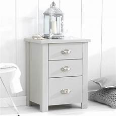 platina wooden bedside cabinet in grey with 3 drawers