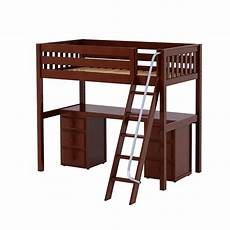 xl high loft bed with angle ladder desk white