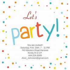 Party Online Invitations Confetti Dots Frame Party Invitation Template Free