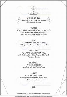 5 Course Meal Menu Template 5 Course Set Dinner Menu 187 The Royal Mail Mother S Day Set