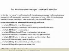 Cover Letter For Maintenance Manager Top 5 Maintenance Manager Cover Letter Samples