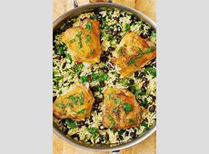 One Pan Chicken Thighs with Cilantro Lime Black Bean Rice