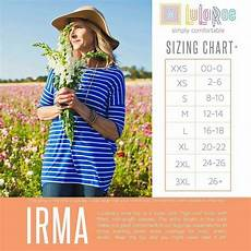 Sizing Chart For Lularoe Irma Irma Size Chart Lularoe Sizing Lularoe Lularoe Irma Sizing