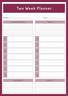 Weekly Planning Template Free Two Week Planner Template In Adobe Illustrator