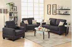 poundex rebel f7911 black fabric sofa loveseat and chair