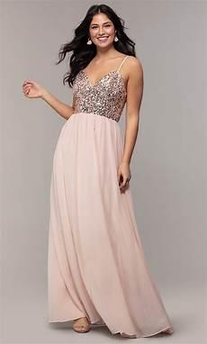 sequin bodice chiffon prom dress promgirl