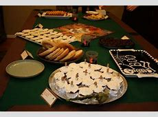Tablescape with Clue themed foods   Mystery party food