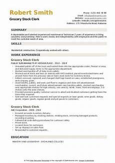 Resume For Grocery Store Clerk Grocery Stock Clerk Resume Samples Qwikresume