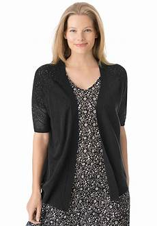 plus size sleeve tops sweaters open front sleeve pointelle cardigan sweater plus