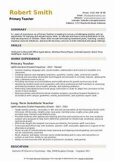 Primary School Teacher Resumes Primary Teacher Resume Samples Qwikresume