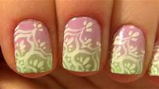 Light Pink And Green Nails Lace Flower Design On Pink Amp Light Green Ombre For Short