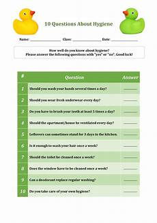 Health And Hygiene Quiz 10 Questions About Hygiene Worksheet For Primary School