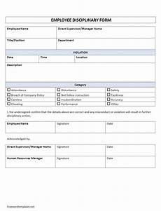 Employee Forms Templates Employee Disciplinary Form