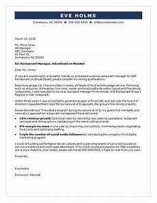 Cover Letter For F B Manager Restaurant Manager Cover Letter Sample Monster Com